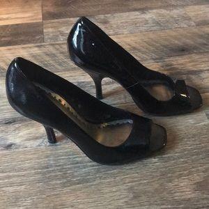 BCBG girls peep toe black heels